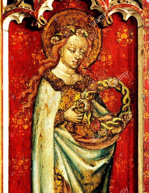Santa Cecilia, representada orante y con una corona de martirio en un retablo medieval de Norfolk (Alamy)