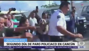 Sigue paro de policías municipales en Cancún, Quintana Roo