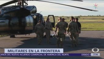 Soldados de Estados Unidos instalan campamentos cerca de la frontera