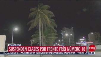 Suspenden clases por frente frío 10 en Veracruz