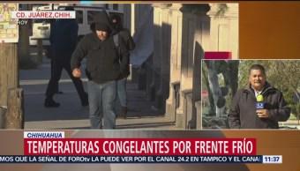 Temperaturas congelantes por frente frío 10 en Chihuahua
