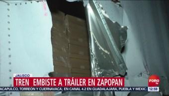 Tren embiste a tráiler en Zapopan, Jalisco