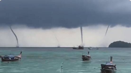 Cuatro trombas marinas surgen simultáneamente en Tailandia