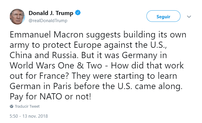 Trump arremete contra Macron en Twitter. (@realDonaldTrump)