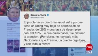 Trump critica a Emmanuel Macron en Twitter