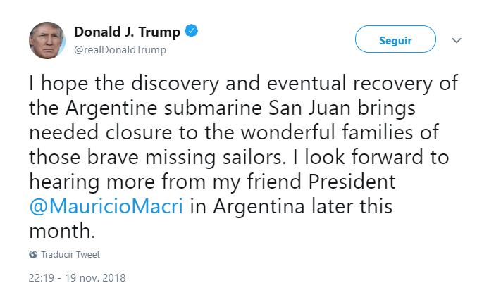 Trump tuitea sobre el submarino argentino. (@realDonaldTrump)
