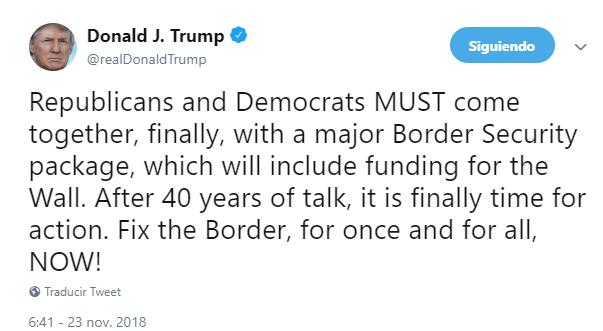 Trump exige muro y solución a crisis en frontera con México