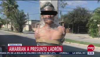 Vecinos amarran a un presunto ladrón en Reynosa, Tamaulipas