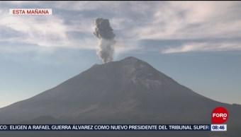 Volcán Popocatépetl Emite Nueva Fumarola Vapor De Agua, Gas Ceniza
