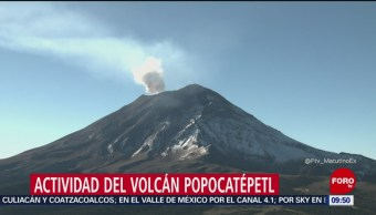 Volcán Popocatépetl registra emisión de vapor de agua