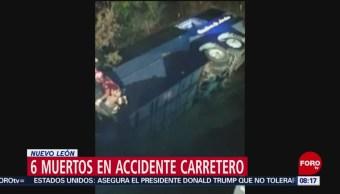 Vuelca autobús de pasajeros en Nuevo León; mueren 6 personas