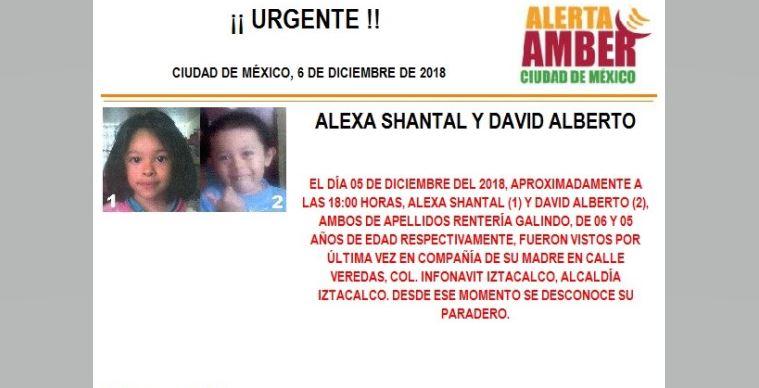 Alerta Amber para localizar a Alexa Shantal y David Alberto