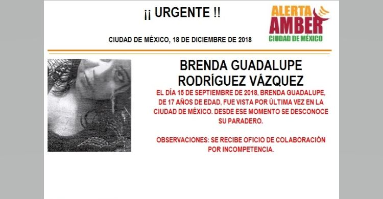 Alerta Amber para localizar a Brenda Guadalupe Rodríguez