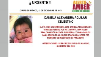 Alerta Amber para localizar a Daniela Alexandra Aguilar