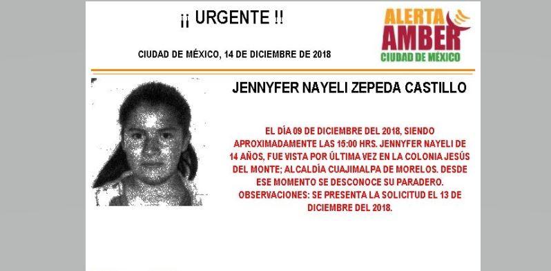 Alerta Amber para localizar a Jennyfer Nayeli Zepeda Castillo