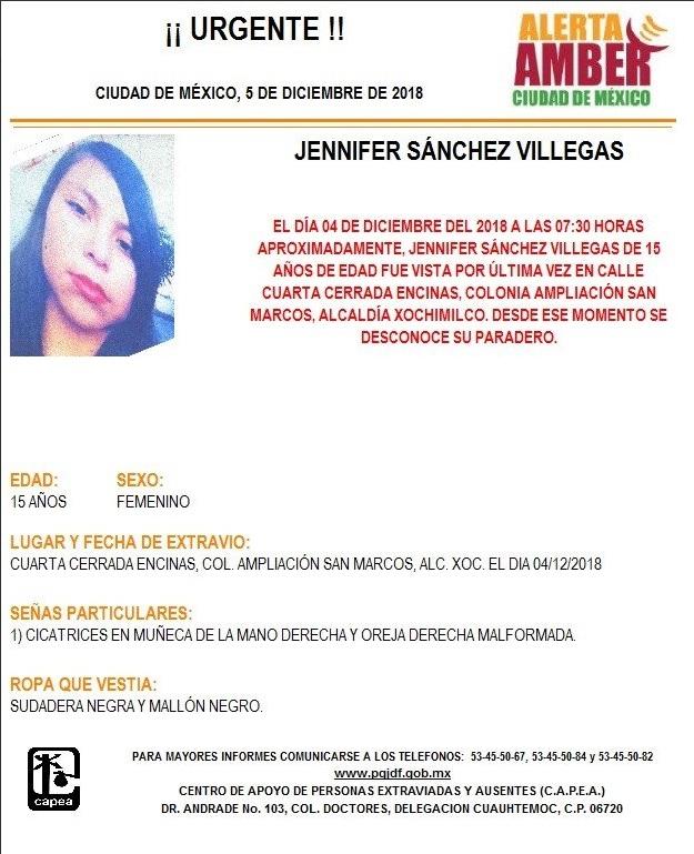 Alerta Ámber: Piden ayuda para localizar a Jennifer Sánchez Villegas