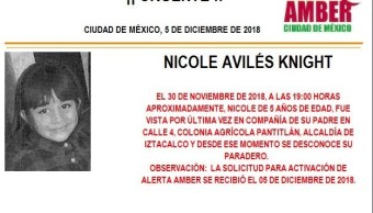 Alerta Ámber: ayuda para localizar Nicole Avilés Knight