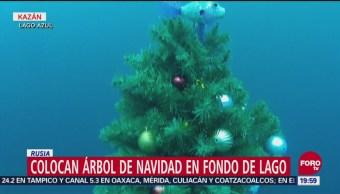 Colocan Árbol Navidad Fondo De Lago Rusia