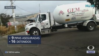 Aseguran nueve pipas con gas LP en Tlaxcala