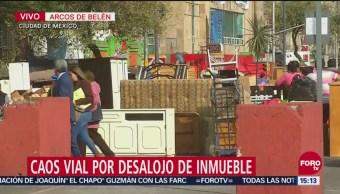 Bloqueo por desalojo en Arcos de Belén, CDMX