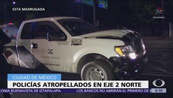 Camioneta de valores atropella a policías en Eje 2 Norte, CDMX