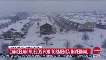 Cancelan vuelos por tormenta invernal en Carolina del Norte
