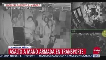 Capan asalto a mano armada en transporte público de la GAM