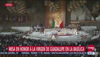 Celebran misa en Basílica de Guadalupe por morenita del Tepeyac