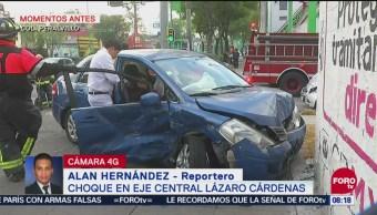 Choque en Eje Central Lázaro Cárdenas deja una persona herida