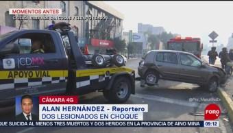 Choque en Ribera de San Cosme deja dos heridos