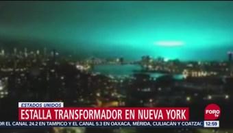 Cielo se ilumina de azul turquesa en Nueva York por incendio