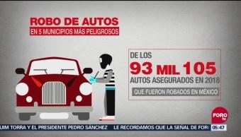 ¿Cuáles son los municipios con mayor robo de autos?