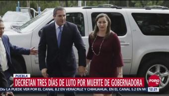 Decretan tres días de luto en Puebla por muerte de gobernadora