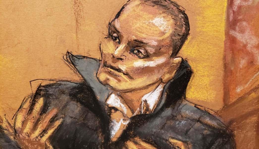Dibujo judicial de 'Chupeta' declarando en la corte de Brooklyn (AP Images)
