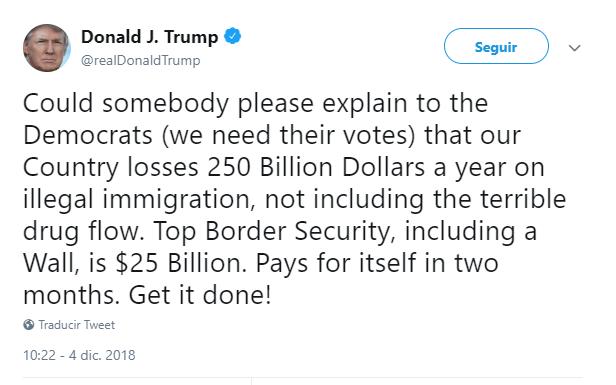 Donald Trump tuitea sobre el muro fronterizo. (@realDonaldTrump)