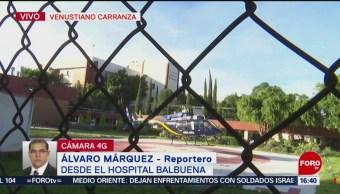 En helicóptero trasladan al Hospital Balbuena a hombre accidentado