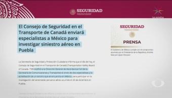 Especialistas Canadienses Trabajarán Zona Accidente Aéreo Puebla