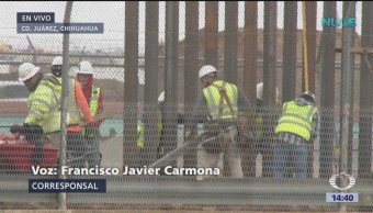 EU construyen muro metálico en frontera con México