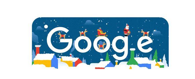 Santa Claus comienza la entrega de regalos en doodle