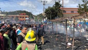 Saldo blanco tras incendio por pirotecnia San Juan Chamula