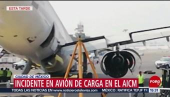 Incidente en avión de carga en el AICM