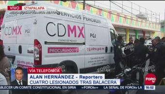 Lesionan a cuatro personas en balacera en Iztapalapa