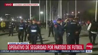 Operativo de seguridad por partido de futbol en CU