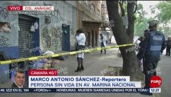 Encuentra a hombre sin vida en avenida Marina Nacional, CDMX