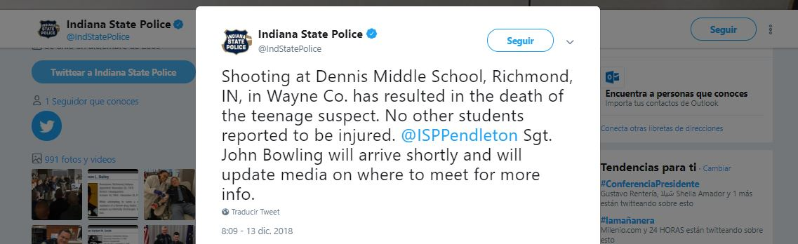 Policía de Indiana en Twitter confirma que muere una person