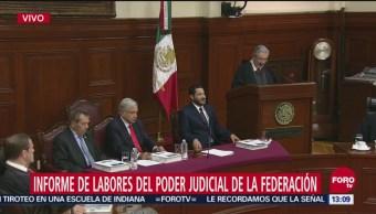 Presidente de la SCJN rinde informe de labores del Poder Judicial de la Federación