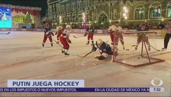 Putin despide 2018 con partido de hockey en Plaza Roja de Moscú