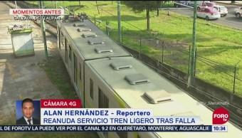 Reanudan servicio del Tren Ligero tras falla
