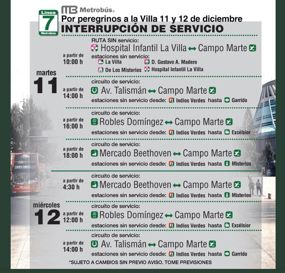 Servicio línea 7 del Metrobús por 12 de diciembre. (@MetrobusCDMX)