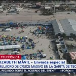 Simulacro de cruce masivo de migrantes en garita de Tecate